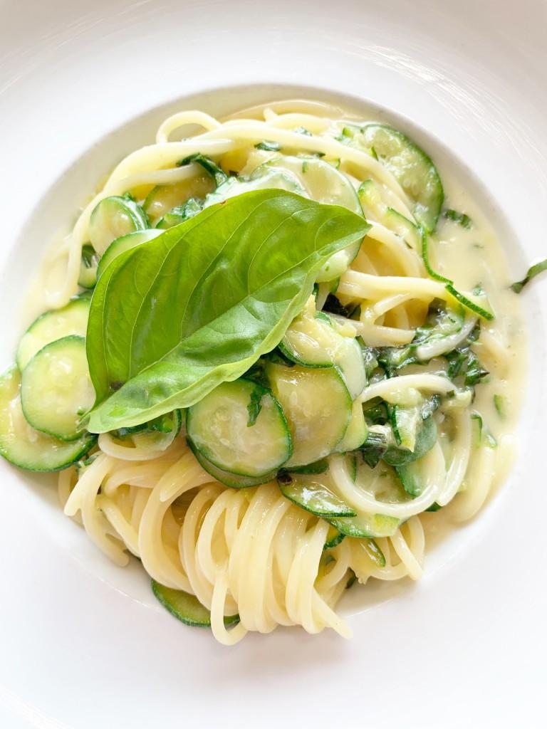 Zucchini Pasta in a bowl in Positano Italy