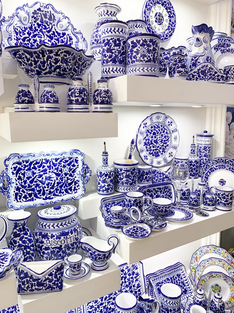 Beautiful blue and white dishes in a shop in Positano Italy