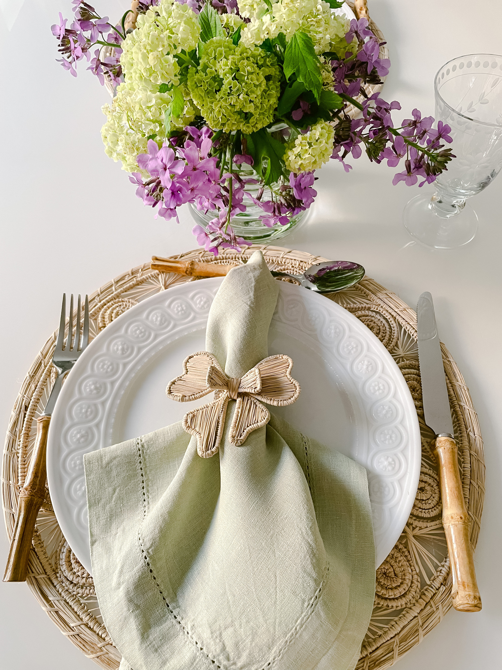 Beautiful tablescape with handmade placemats and napkin holder